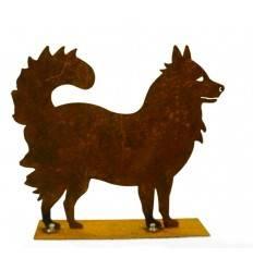 "Mini Edelrost Hund ""Spitzle"" 15 cm hoch - Husky Deko Hunde Breite 17 cm. Höhe 15 cm."