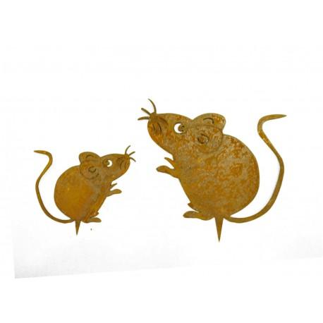 2er Set Rost Maus mit Baumpieß - Mäusepaar zum Einschlagen in Holz
