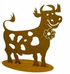 lustige Rost Kuh 44 cm hoch auf Platte