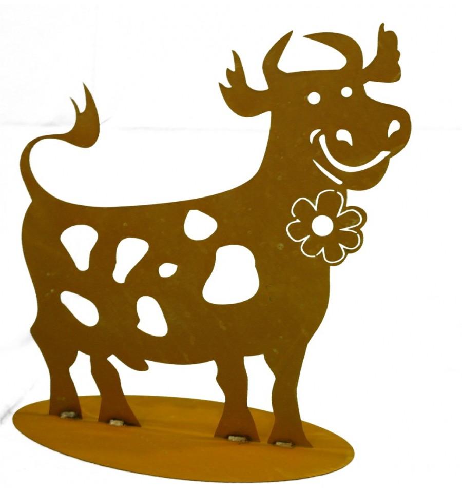 Edelrost kuh lustig geschnitten bauernhofdeko vom metallmichl