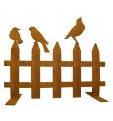 Edelrost Vogelzaun mit 3 Vögelchen 50 cm Breit auf Platte
