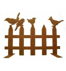 Edelrost Vogelzaun mit 4 Vögelchen 50 cm breit auf Platte