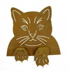 Rost Katzenkopf zum Einhängen an Zäunen und Brettern, Fensterrahmen