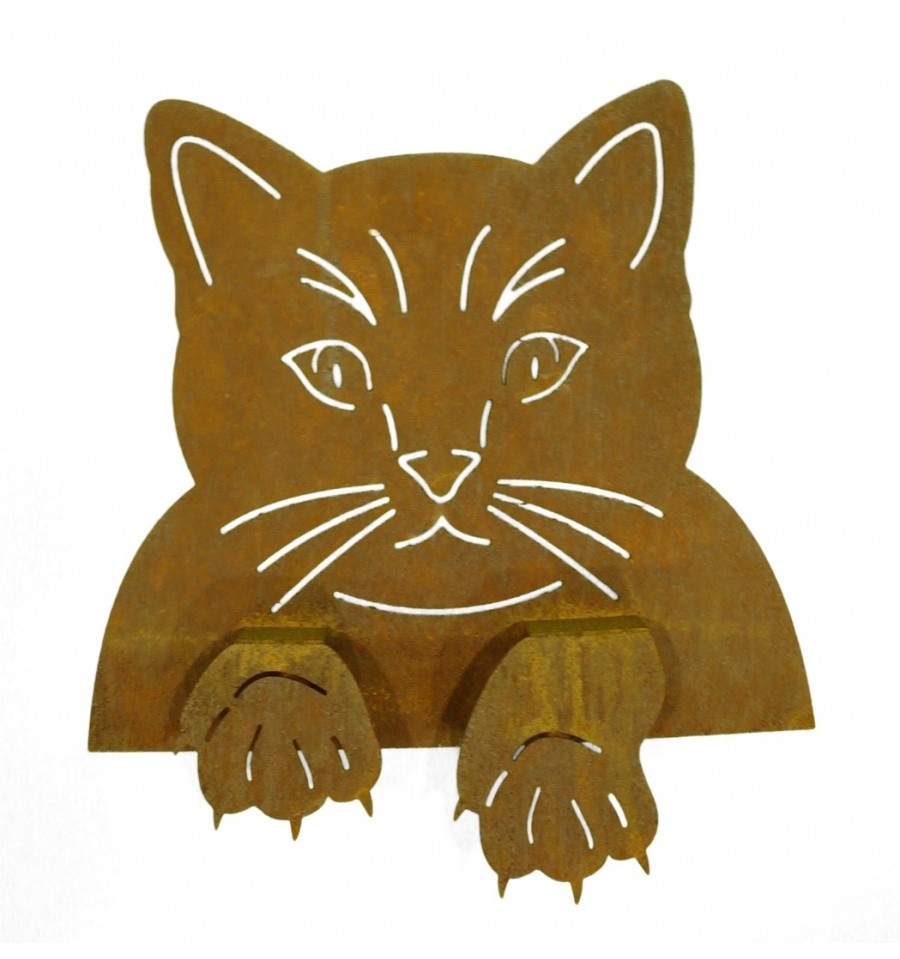Rost Katze - Edelrost Katzenkopf Metall zum Einhängen an Zäunen ...
