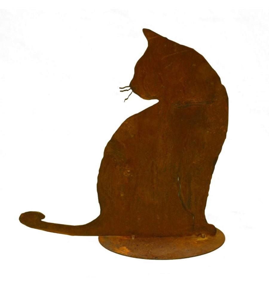 Rostige katze tom sitzend metallmichl for Rostige gartenstecker