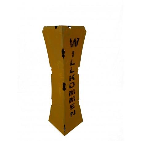 Rostsäule Willkommen tailiert mit Rissen 110 cm hoch