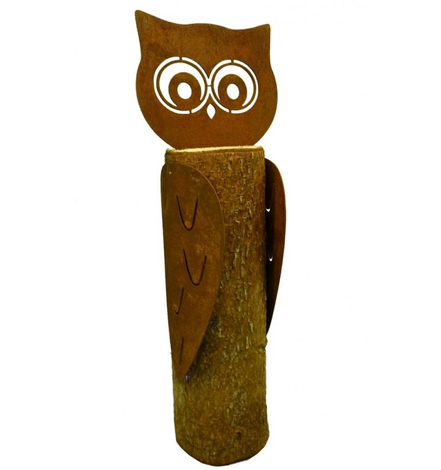 Rost Eule Resi 21 cm hoch mit Baumstamm
