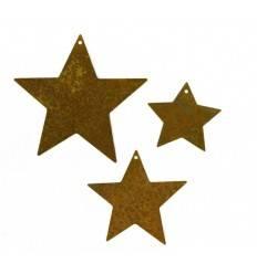 3 tlg. Sternenkette voll mini ungefädelt - Edelrost Sterne Mini