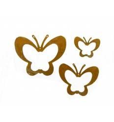 3 tlg. Schmetterlingskette ungefädelt - Rost Schmetterling 3er Set
