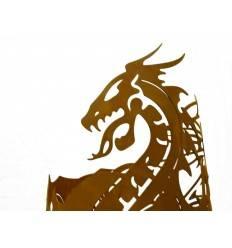Drachentopf - Edelrost Feuerschale mit Drachenmotiv, Höhe 56 cm, Ø 40 cm