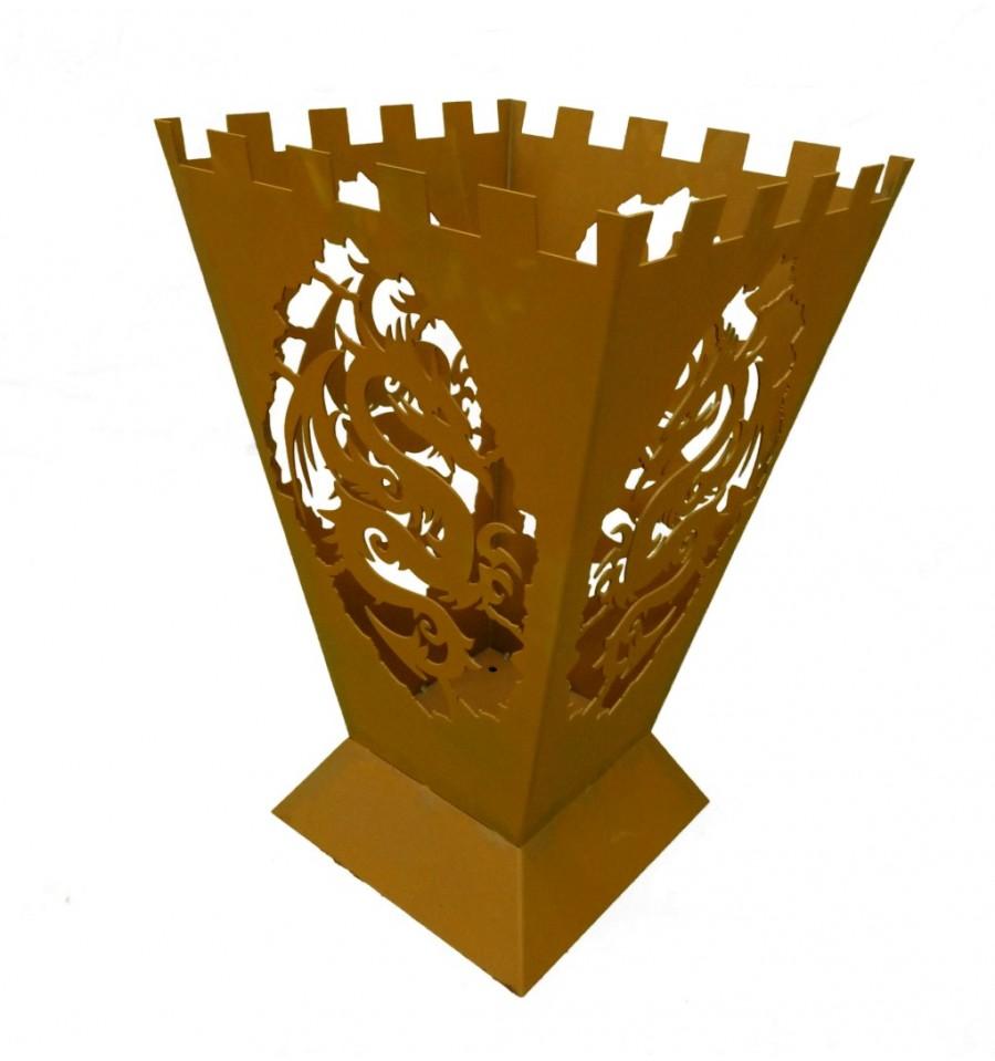 edelrost feuerkorb fantasy 4 seitiges drachenmotiv. Black Bedroom Furniture Sets. Home Design Ideas