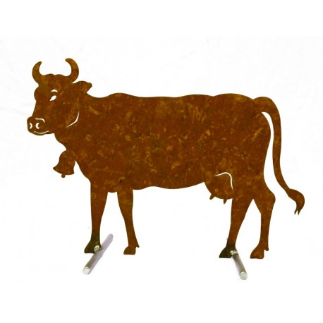 Edelrost Kuh mittel 50 x 37 cm auf Stangen Original Allgäuer Rostkuh