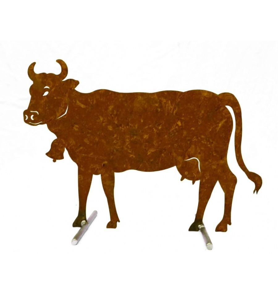 Rost kuh mittel 50 x 37 cm auf platte von pfaudler und for Tiere aus edelrost