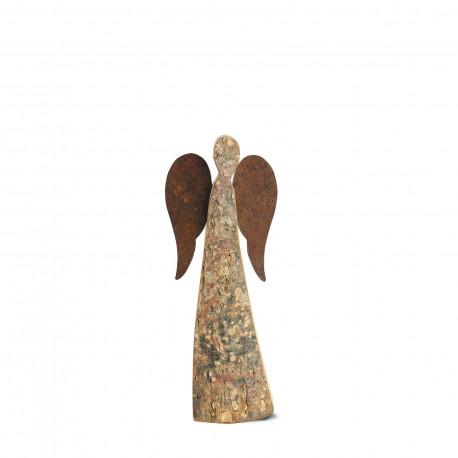 20 cm Rindenengel - Adad - mit rostigen Flügeln