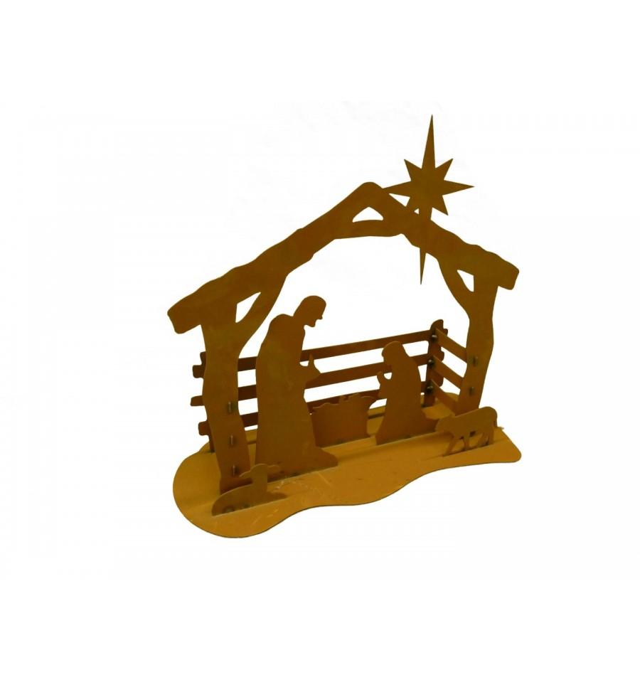 edelrost krippe klein 40 cm breit mit josef und maria im stall metallmichl. Black Bedroom Furniture Sets. Home Design Ideas