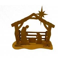 Edelrost Krippe klein 40 cm breit mit Josef und Maria im Stall