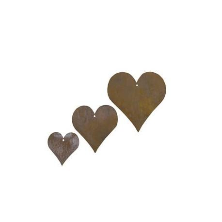 3 tlg. Herzkette -gerade- Edelrost Herzen 3 Stück ungefädelt