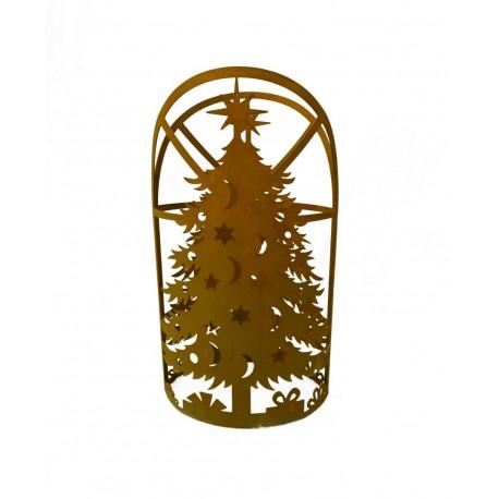 Windlicht Weihnachtsbaum Metall 53 cm hoch - Winterdeko Windlicht