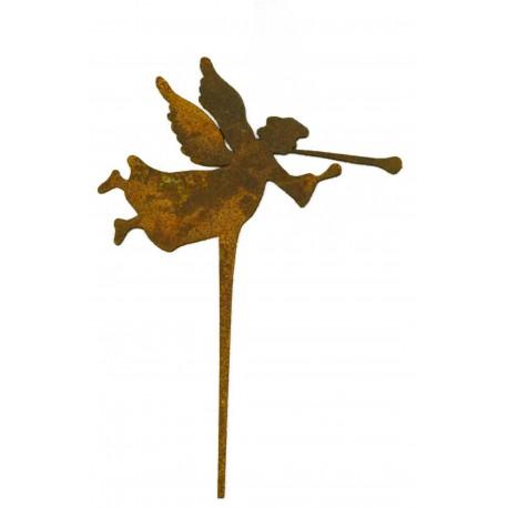 rostiger Trompetenengel als rostiger Blumentopfstecker