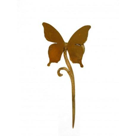 Gartendeko Rost Papilio Schmetterling auf MiniCurl Stab 35 cm hoch Edelrost