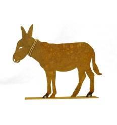 Edelrost Esel mit Strick 25 x 20 cm auf Platte