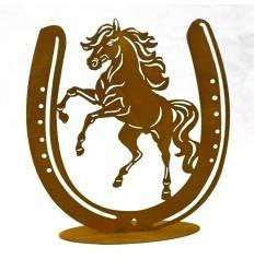"""Edelrost-Figur """"Pferd in Hufeisen"""" auf Platte, Höhe 30 cm, Breite 28 cm"""
