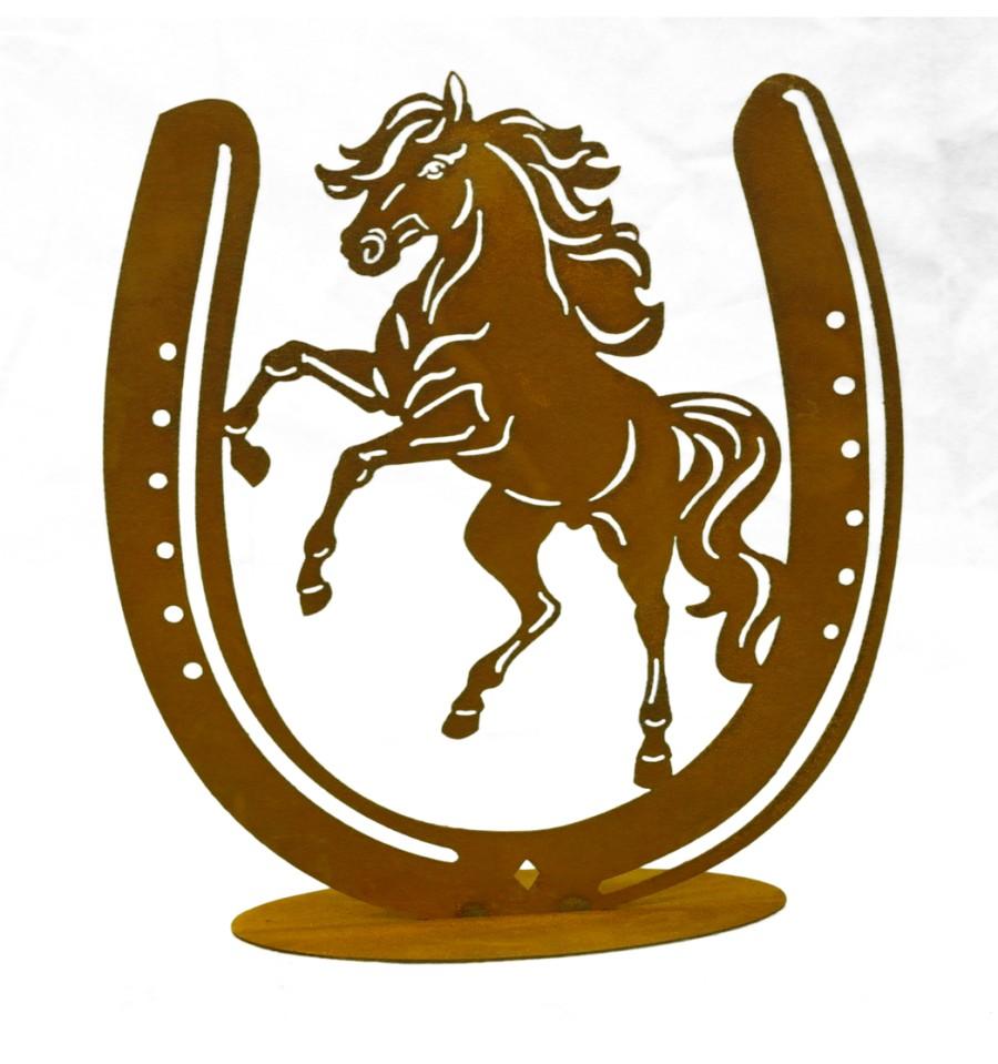 Hufeisen mit pferd auf platte in edelrost metallmichl for Hufeisen aus holz