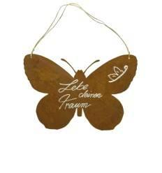 Rostige Spruchtafel im Schmetterlingsmotiv mit Spruch Lebe deinen Traum - Breite 37 cm Höhe 25 cm