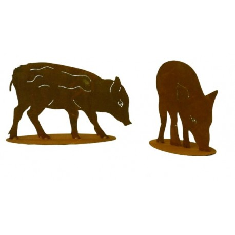 2er Set Wildschwein Frischlinge auf Platte