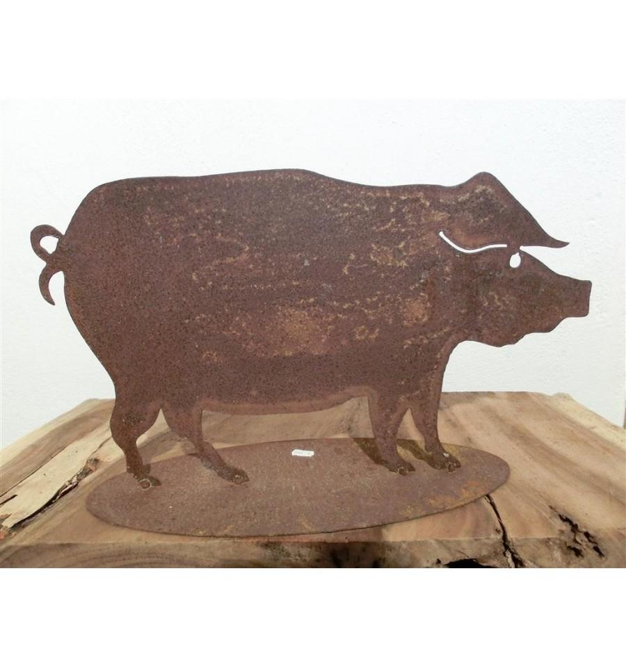 schwein 30 x 50 cmbauernhoftiere metallmichl aus edelrost. Black Bedroom Furniture Sets. Home Design Ideas
