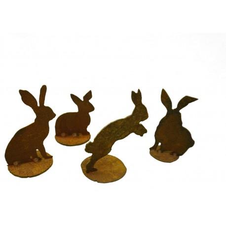Gartendeko Rost Rost Hasen 4er Set - 4 Stück Edelrost Hase als Gartendeko oder Wohndeko geeignet Edelrost
