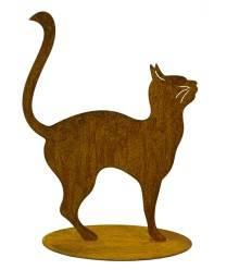 kleine Rost Katze auf Platte 21 cm hoch - Kopf und Schwanz nach oben