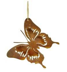 Filigraner Rost Schmetterling zum Aufhängen - 12 x 12 cm