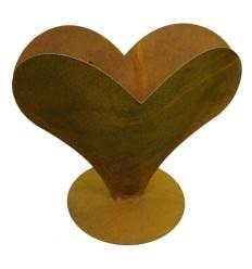 Edelrost Herz zum Bepflanzen breit auf Platte 24 hoch