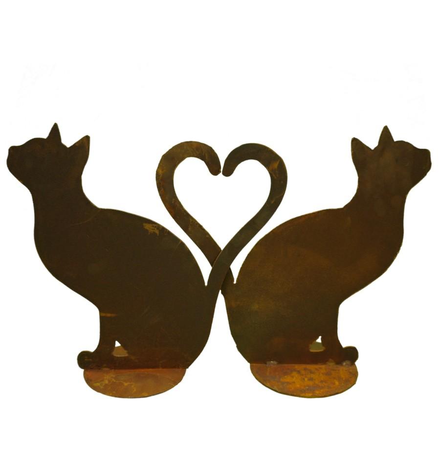 Katzen sitzend - bilden ein Herz (auch einzeln erhältlich) rostig ...