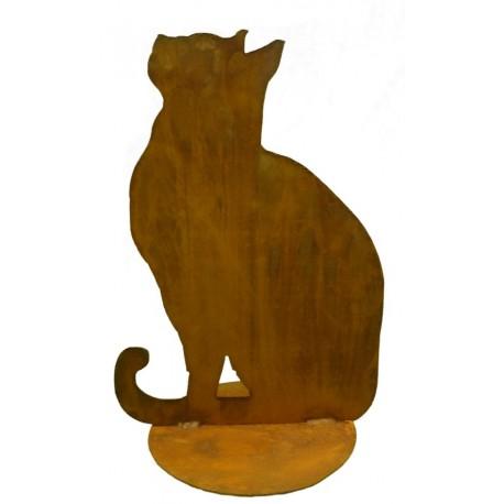 Schöne ausgefallene stehende Katze 14,5cm grau schwarz Skulptur Art Deko Figur