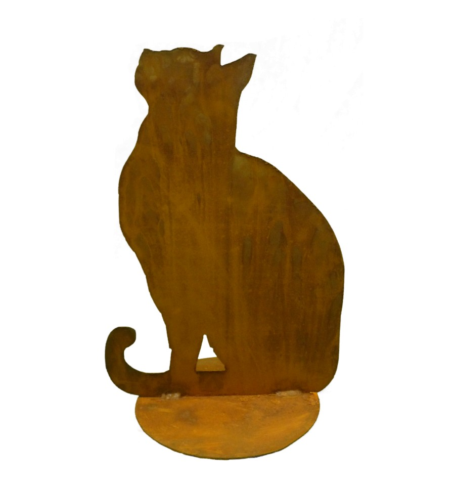 Katze sitzend auf plattekatz und maustiere metallmichl aus for Tiere aus rostigem eisen