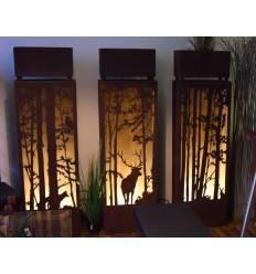 3er Set Rostsäulen Hirsch und Wald Szene