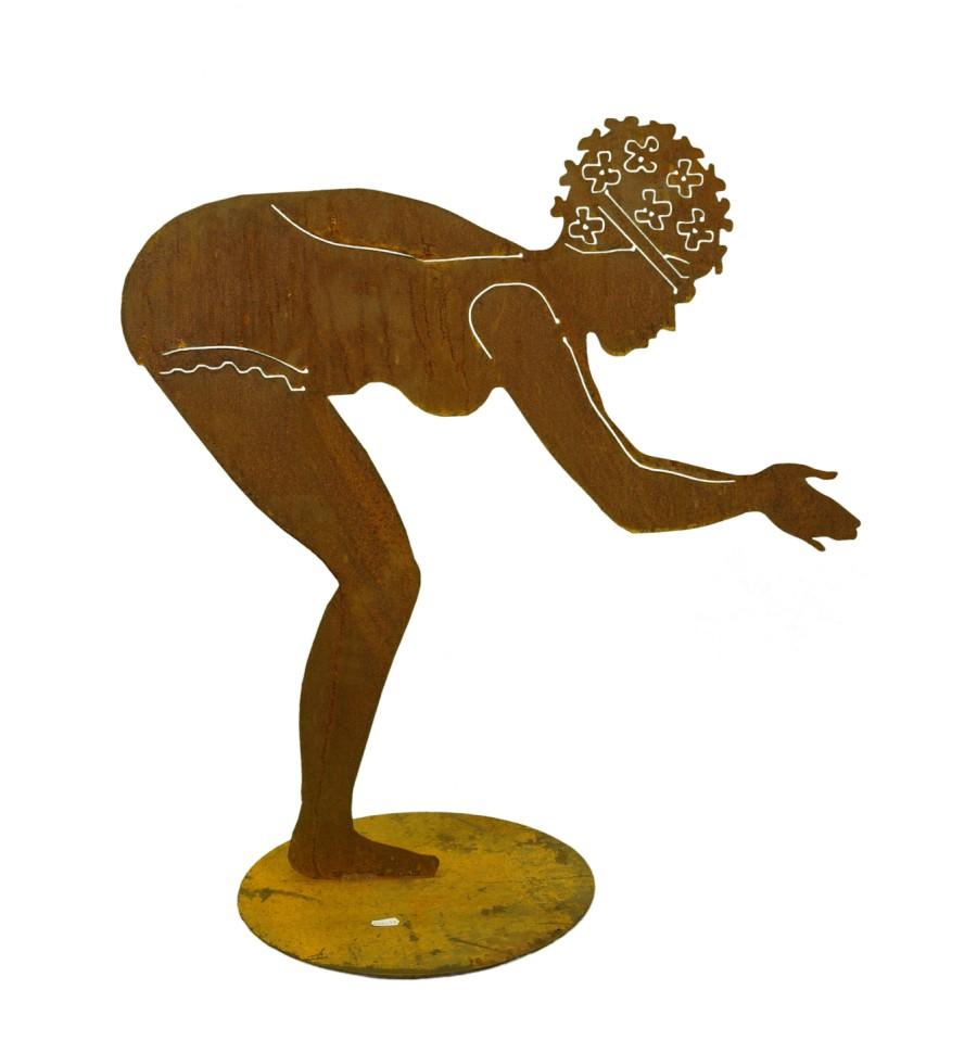 Berta edelrost badefigur 75 cm hoch auf platte vom for Edelrost figuren