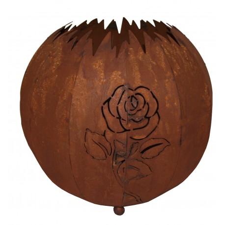 Kugel Rose 30 cm in Edelrost zum Beleuchten geeignet