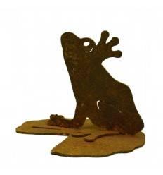 Mini Rost Frosch auf Seerosenblatt 8 cm hoch