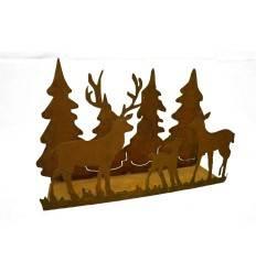 Waldszene mit Wildfamilie auf Platte