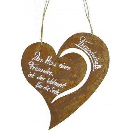 """Rostschild Herz """"Freundschaft Das Herz eines Freundes, ist ein Wohnort für die Seele"""""""