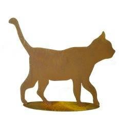 Rost Katze gehend auf Platte - rostige Gartendeko