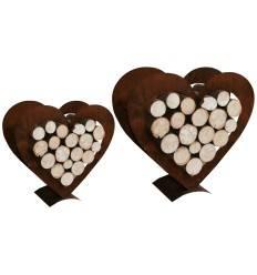 Edelrost Herz Holzregal 2 er Set Holzstapler in Herzform Herz zum Holz befüllen