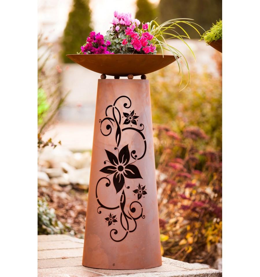 edelrost s ule kegel bl te 110 cm hoch inkl schale metallmichl. Black Bedroom Furniture Sets. Home Design Ideas