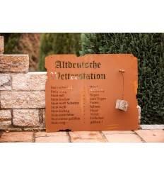Große Altdeutsche Wetterstation mit Stein als Wandbild - 80 x 70 m