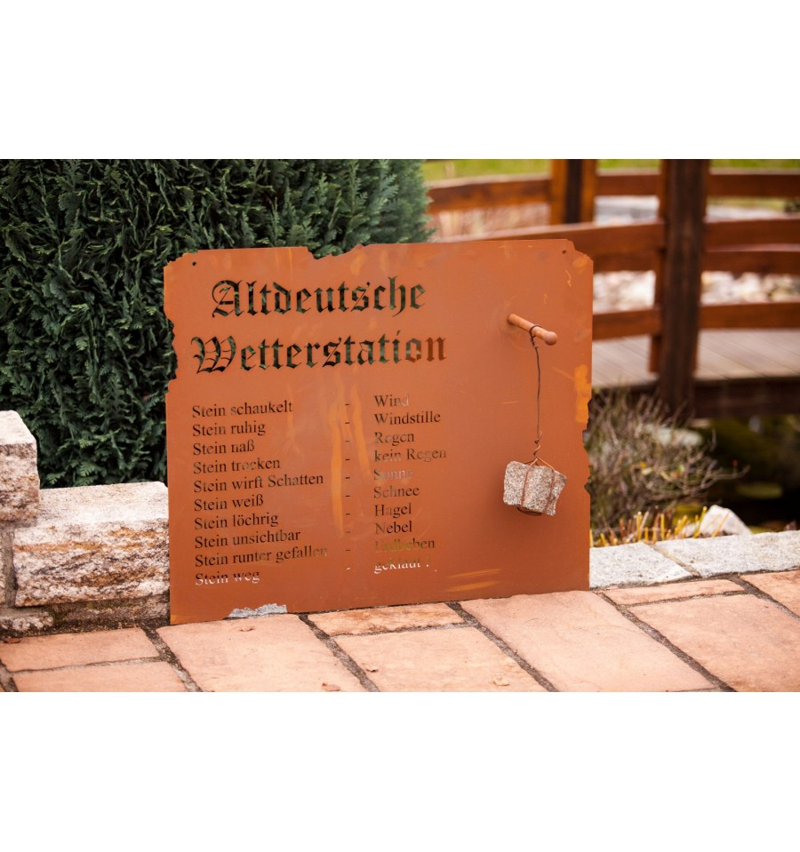 Altdeutsche Wetterstation Metall Rost Garten Deko Wetter Terrasse Edelrost