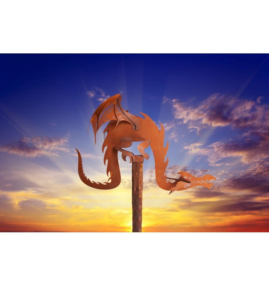 edelrost magic dragon inkl holzbalken gr 3 rost vom metallmichl edelrostshop. Black Bedroom Furniture Sets. Home Design Ideas