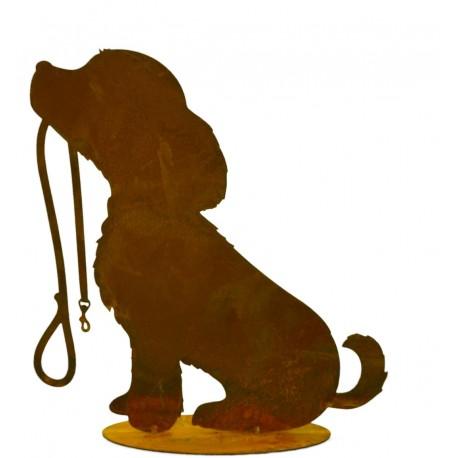 edelrost hund rocki mit leine 30 cm vom metallmichl. Black Bedroom Furniture Sets. Home Design Ideas